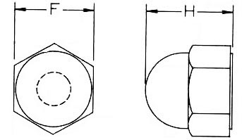 Nylon Cap Nuts Dimensions