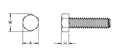 Hex Head Machine Screws Dimensions