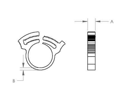 Double Grip Hose Clamp Dimensions