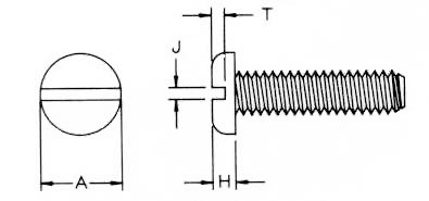 Slt Pan Machine Screws Dimensions