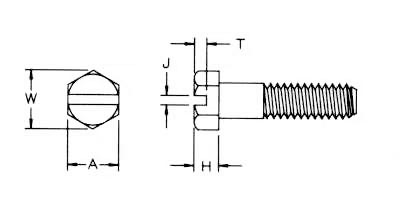 Slotted Hex Cap Screw Dimensions