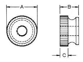 Nylon Knurled Thumb Nuts Dimensions