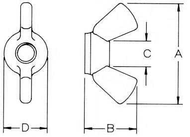 Nylon Wing Nuts Dimensions